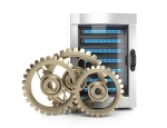 Server and gears isolated on white background. 3d render