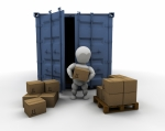3D render of someone unloading boxes from a freight container