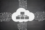 Cloud computing concept with cloud and devices