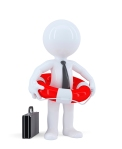 Businessman with a lifebuoy. Business concept. Isolated. Contains clipping path.