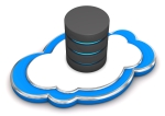 Database on the blue cloud. 3d illustration with white background.