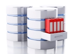 3d renderer image. Data storage with folders. Database concept. Isolated white background