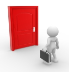 3d people - man, person and a door . Businessman