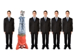 business people in a series with a casual guy doing the headstand - stand out from the crowd
