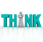 A man stands in place of the letter i in the word Think