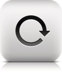 Arrow sign. Rotation, reset, loop, refresh, reload icon. Series in a stone style. Rounded square button with gray reflection, black shadow on white background. Vector illustration web design 8 eps